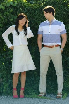 Grand Rapids lifestyle, style and fashion blogger and designer - Downtown Grand Rapids; her - monochromatic, cream blouse, cream and gold skirt, pink wedges; him - khaki pants, blue