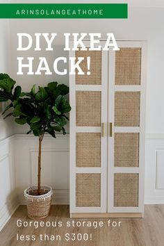 Here is a step by step tutorial to this DIY Ikea hack using a Brimnes cabinet! Upgrade your storage cabinet with cane sheeting. A DIY project that is affordable - less than $300 for this storage unit! Perfect for anyone on a budget. Diy Home Decor Projects, Decor Crafts, Diy Room Decor, Home Organization, Organizing Life, Painted Furniture, Furniture Design, Brimnes, Furniture Painting Techniques