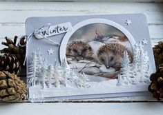 Cards made by Wybrich: Marianne Design challenge 166 Fall Cards, Winter Cards, Christmas Cards, Winter Karten, 3d Cards, Marianne Design, Animal Cards, Card Tags, Christmas Inspiration