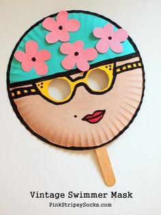 2 Vintage Swimmer Paper Plate Mask Kids Craft - Red Ted Art's Blog ...