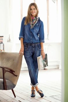 denim shirt and boyfriend jeans, topped with colorful scarf. t-bar shoes