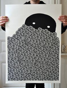 """""""Behind"""", silkscreen, 50x70 cm, edition of 30"""