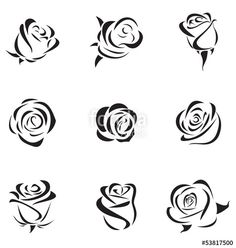 Simple Rose Silhouette Vector: Photovector Illustration Of Outline Rose Set Rose Drawing Simple, Simple Rose, Rose Illustration, Mehndi Art Designs, Nail Art Designs, Art Drawings Sketches, Easy Drawings, Jolie Nail Art, Rose Outline