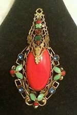 ANTIQUE MAX NEIGER ART DECO CZECH BRASS GLASS ENAMEL NECKLACE PENDANT