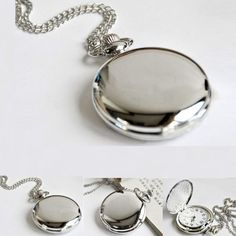 New Fashion Retro Mirror Smooth Silver Women Men Quartz Pocket Watch Pendant Necklace + Stainless Chain - Jewelry For Her