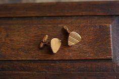 Gold-plated vintage French triangular cufflinks