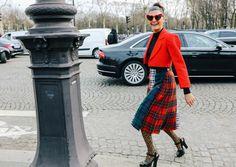 Giovanna Battaglia Engelbert in a Le Kilt skirt--Phil Oh's Best Street Styles From Paris Fashion Week, Vogue. Fall, Kilt Skirts.
