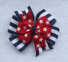 Fourth of July Hair Bow Hair Bows for the 4th by LizzyBugsBowtique