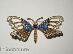 Vintage Signed Nettie Rosenstein Blue Jeweled Butterfly Trembler Brooch Pin | eBay