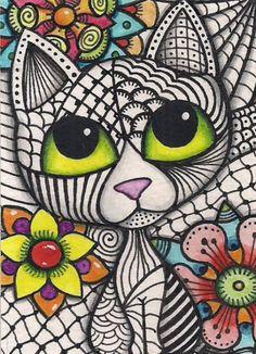 Cat Flowers, Creation Deco, Cat Quilt, Cat Colors, Cat Pattern, Cat Drawing, Whimsical Art, Art Plastique, Rock Art
