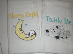 Baby Snoopy Burp Cloths by grandmasbabyboutique on Etsy, $15.00