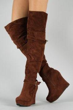 Gothic Star Knee High Heel Wedge Boot Demonia | Crazy Dancin ...