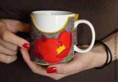 """Чехол для кружки """"Колибри и цветок"""". Handmade."""