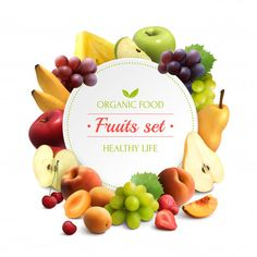 Buy Fruits Frame Realistic Background by macrovector on GraphicRiver. Organic food colorful background with fruits frame and round place for text realistic vector illustration Fruit Logo, Mixed Fruit, Fresh Fruit, Design Plat, Design Design, Different Fruits And Vegetables, Fresh Vegetables, Vegetable Cartoon, Food Tracking