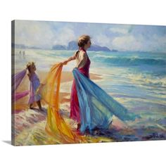 Great BIG Canvas Steve Henderson Premium Thick-Wrap Canvas entitled Into the Surf