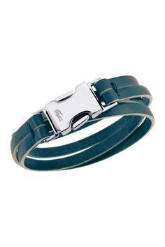 Lacoste Jewelry Leather Wraparound Bracelet
