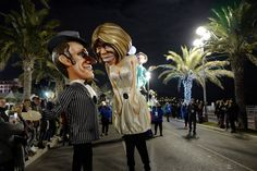 Politics on parade at the Carnival in Nice, France. Effigies included of actor Gerard Depardieu and Russian President Putin; French President Macron and his wife Brigitte (Pictured) and US President Trump depicted as an evil clown holding a Macron puppet
