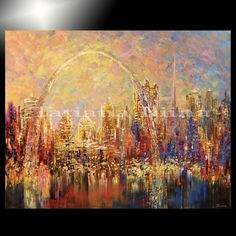 ST LOUIS * Giclee of original CITY skyline painting TATIANA canvas 40/100 signed #Impressionism
