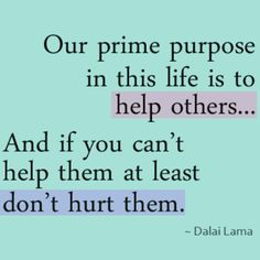 Our Prime Purpose In This Life Is To Help Others...And If You Can't Help Them, At Least Don't Hurt Them