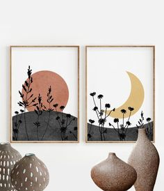 Boho Sun and Moon Print Set of Abstract Landscape, Wild Flowers desert moon Abstract Landscape, Landscape Edging, Landscape Paintings, Tree Paintings, Mountain Landscape, Abstract Wall Art, Art Pastel, Minimal Art, Moon Print