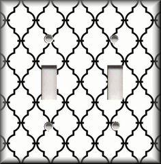 Light Switch Plate Cover - White Black Quarterfoil Trellis Moroccan Home Decor