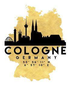 COLOGNE GERMANY SILHOUETTE SKYLINE MAP ART von deificusArt