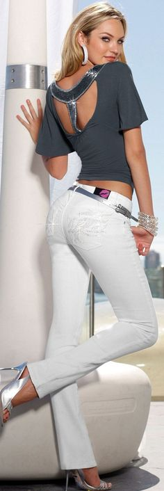 Keep the Glamour. White denim style / Shoes / Acessories / Fashion / Woman / Style ✔BWC