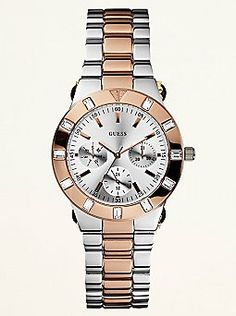 772c5e2ce05 Guess  Feminine High-Shine Sport Mid-Size Watch - Rose Gold and Silver