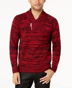 INC Men's Two-Tone Shawl-Collar Sweater, Created for Macy's - Gray 3XL