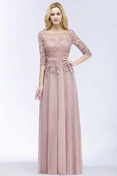 PAMELA | A-line Floor Length Half Sleeves Appliques Bridesmaid Dresses with Sash
