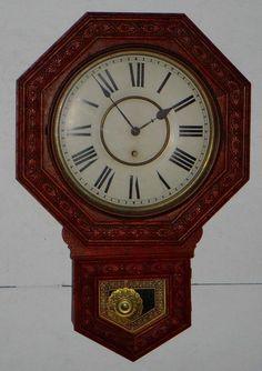 ANTIQUE WELCH GENTRY OCTAGONAL SCHOOLHOUSE WALL CLOCK REGULATOR