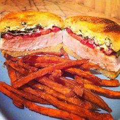 Trunkitchen: Trunk's 4th of July dinner. Swordfish steak sandwiches with fresh tomato, greens, horseradish citrus zest mayo and handcut homemade sweet potato fries (Taken with Instagram)