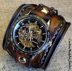 Steampunk Leather Cuff Watch in Aged Brown