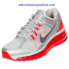 Nike Air Max 2013 Womens Pure Platinum Total Crimson Wolf Grey 555363 008