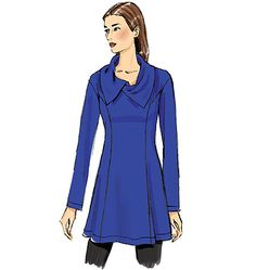 New from Butterick: Pullover tunic sewing pattern has side-front seams, neckline and back variations. In fact, check out the back! B6248.