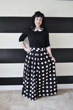 The black and white polka dot Katie skirt is a show stopper for sure! The large black and white polka dot print will turn heads all over town! Pair