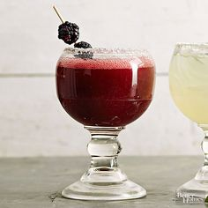 Blackberry brandy and pureed frozen berries add not one but two layers of fruity flavor to classic margarita mix. Trade kosher salt for coarse sugar to decorate the glass rim and keep things sweet. Tropical Margarita Recipe, Blackberry Margarita, Classic Margarita Recipe, Coconut Margarita, Blood Orange Margarita, Coconut Rum, Margarita Recipes, Margarita Mix, Sweets