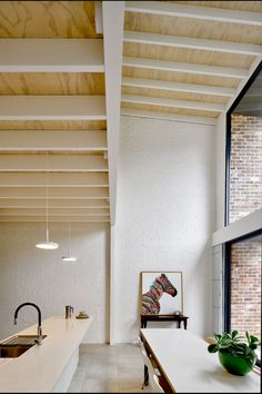 Image 14 of 17 from gallery of Brick Aperture House / Kreis Grennan Architecture. Photograph by Kreis Grennan Architecture Plywood Ceiling, Ceiling Beams, Ceilings, Painted Brick Walls, Recycled Brick, Timber Roof, Glass Extension, Australian Interior Design, Furniture Factory