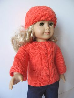 FOR SALE !!!!  Aran Pullover & Hat set hand knitted doll clothes for by KNITnPLAY, $19.99