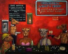 """Happy Hump Day ,Here is a new painting called """"Hump Day"""" with camels having a night out at a bar celebrating with drinks and topless waiters. Share if you like :)"""