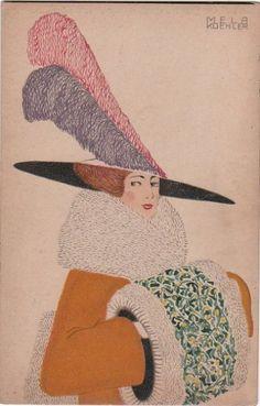 Fashion (Mode) Mela Koehler (Austrian, Vienna Stockholm), published by Wiener Werkstatte, 1912 Charles Rennie Mackintosh, Klimt, Fashion Prints, Fashion Art, Ladies Fashion, Art Nouveau, Vintage Artwork, Vintage Illustrations, Fashion Illustrations