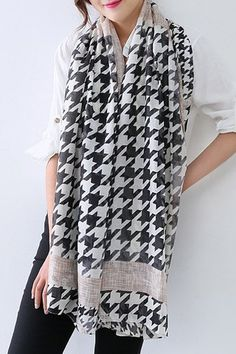 Stylish Big Houndstooth Pattern Scarf For Women
