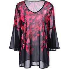 Plus Size Floral Flare Sleeve Blouse ($21) ❤ liked on Polyvore featuring tops, blouses, floral tops, womens plus tops, bell sleeve blouses, women's plus size blouses and floral print blouse
