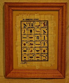 Framed Papyrus Egyptian picture of Hieroglyphic by Gingerjonestown