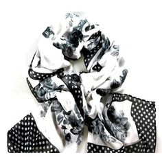 Enchanting! Black White Grey Polka Dot Flower Print Scarf