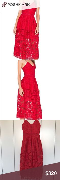 Nicholas Floral Lace Rouleau Ball Dress (New!) Never worn Nicholas Floral Lace Rouleau Ball Dress in Hibiscus Red. Tags still attached. Absolutely gorgeous! Retails for $695. Will consider all reasonable offers. Nicholas  Dresses
