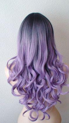 Dark roots Pastel lavender wig. Light purple/ Long by kekeshop