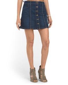 Juniors Button Front Skirt