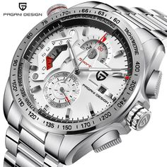Buy it before it ends. There is always many products on sae upto - PAGANI DESIGN Chronograph Sport Watches Men Luxury Brand Quartz Watch Full Stainless Steel Dive relogio masculino white - Fast Mart Elegant Watches, Beautiful Watches, Casual Watches, Relogio Casio Edifice, Cool Watches, Watches For Men, Mens Sport Watches, Swiss Army Watches, Seiko Watches