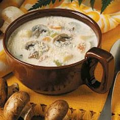 Mushroom and Potato Chowder.  I use chicken broth instead of water, regular 2% milk instead of half and half but half and half night be better, and a pinch of thyme.  (See Americas best recipes 1994).  Also good puréed.